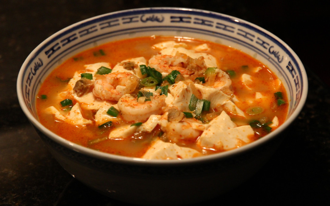 Spicy Tofu and Seafood Soup
