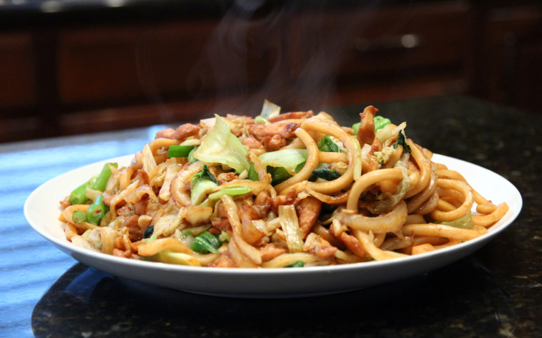 Stir Fried Udon Noodles with Chicken
